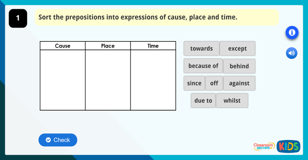 Year 3 GPS Using Prepositions to Express Time, Place and Cause