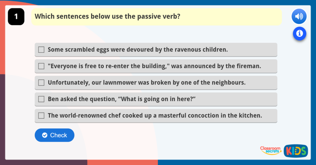 Year 6 Recognising and Using the Passive Verb