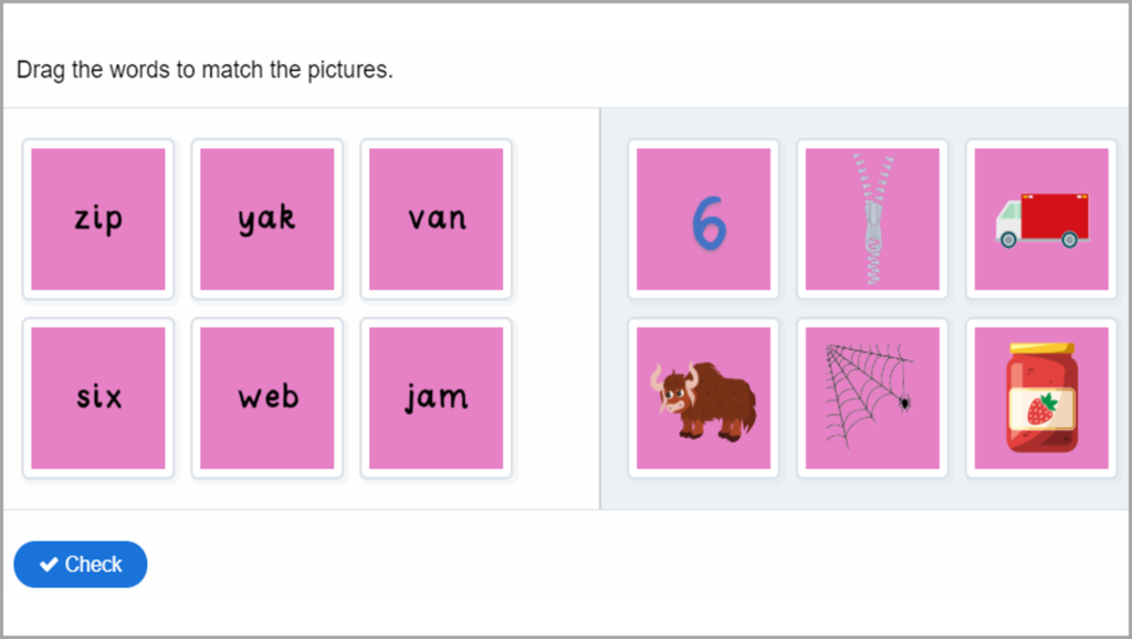 Phonics match Words to Pictures Game