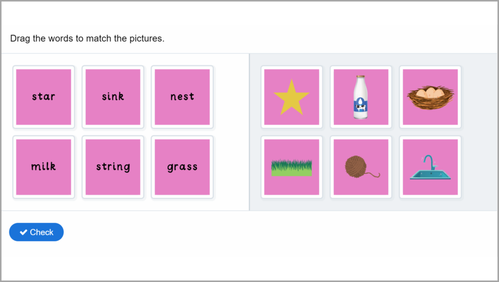 Phase 4 Phonics Match Words to Pictures Game 3