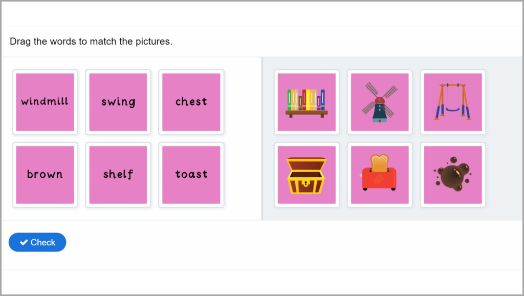 Phase 4 Phonics Match Words to Pictures