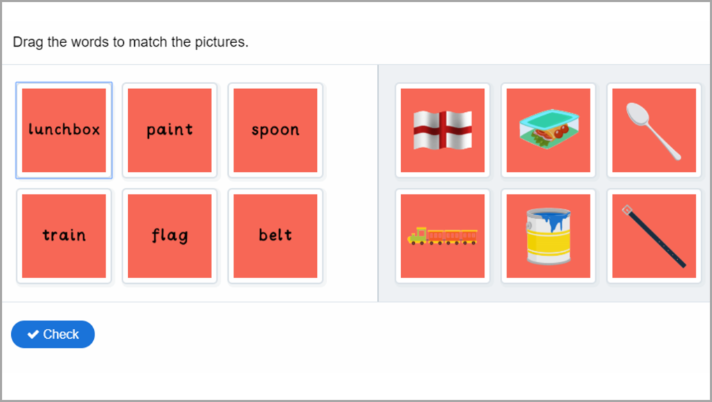 Phonics Match Words to Pictures Game 2