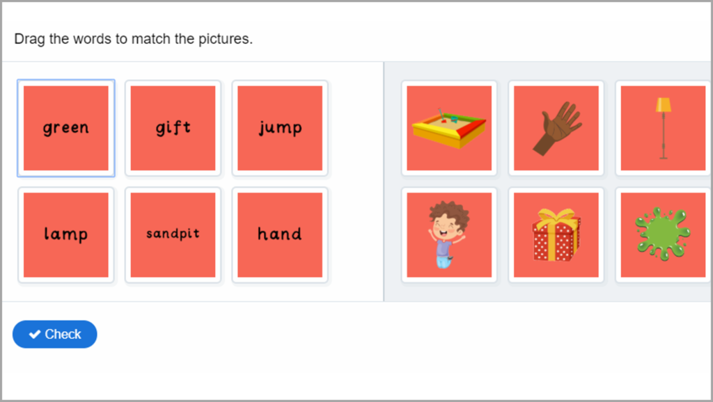 Phonics Year 1 Match Words to Pictures