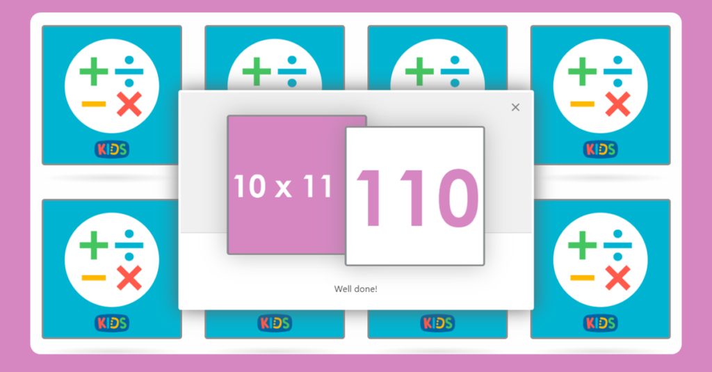 11 Times Table Memory Card Game