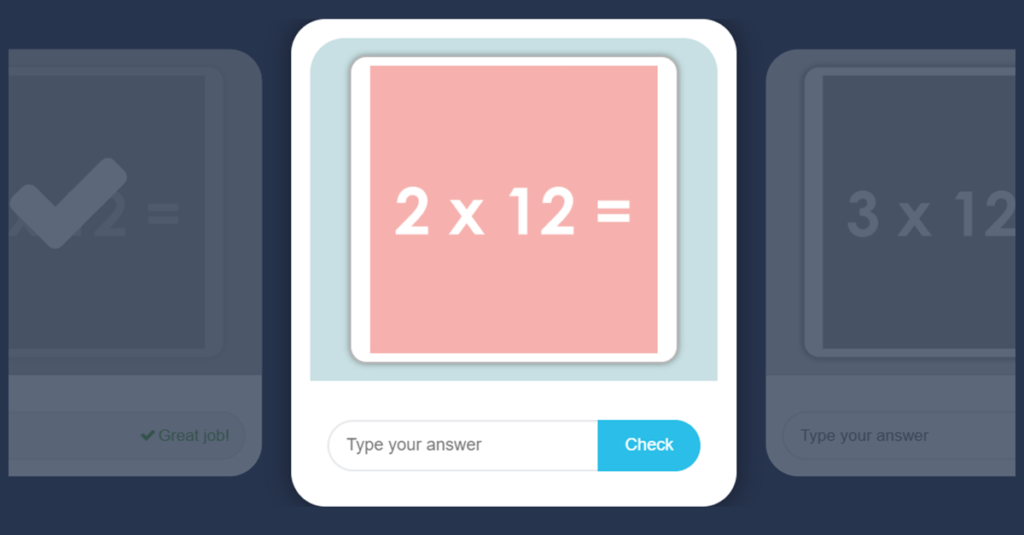 12 Times Table Game with Flash Cards