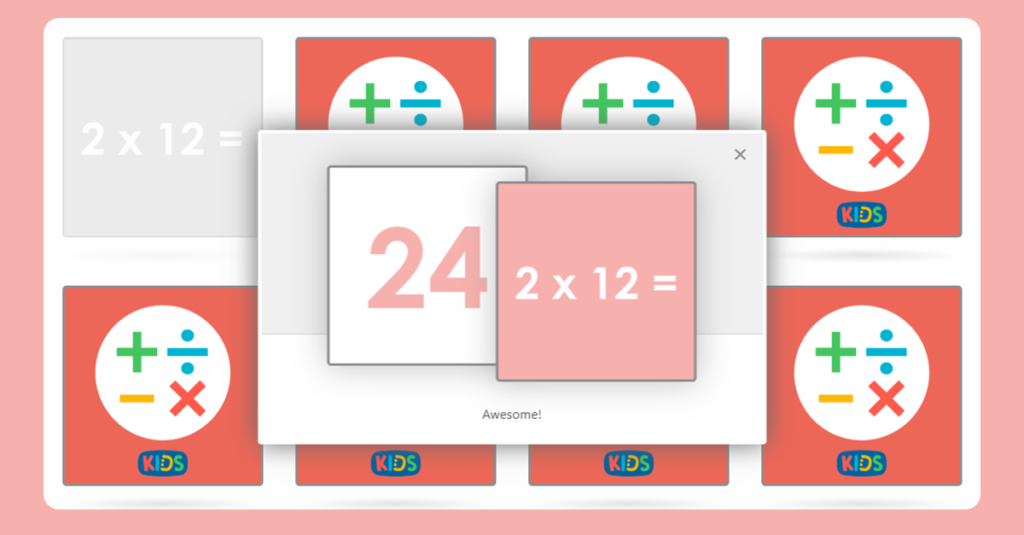 2 Times Table Memory Card Game