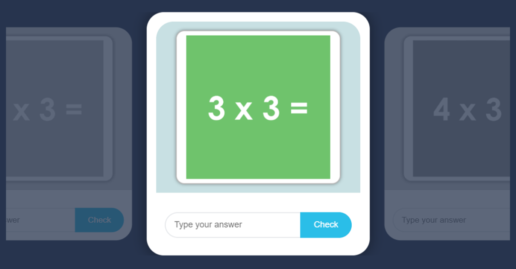 3 Times Table Game with Flash Cards