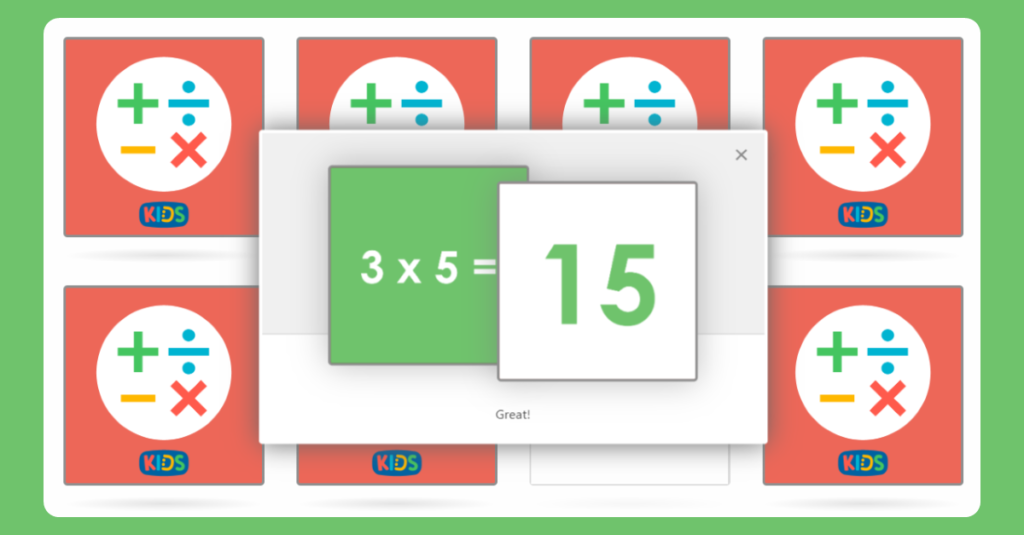 5 Times Table Memory Card Game