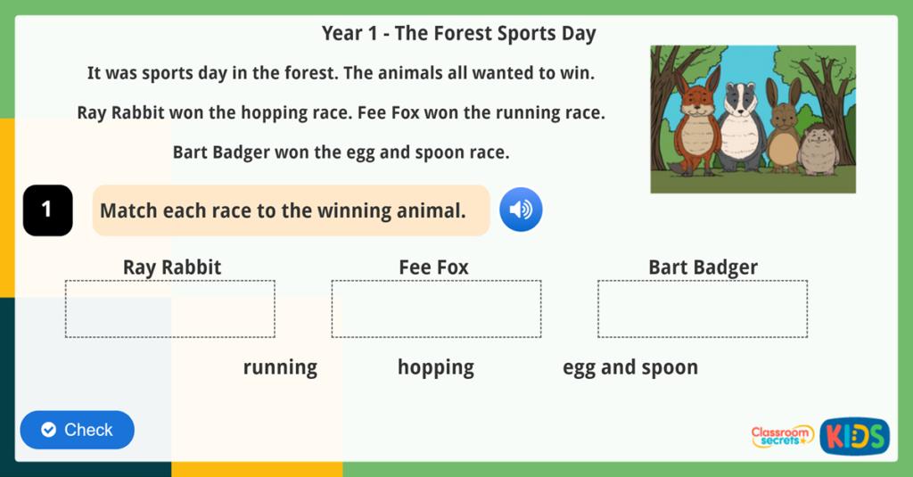 Animals Year 1 Reading Comprehension