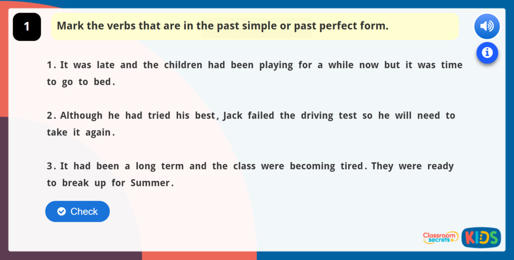 Year 5 Tenses Online Learning Games