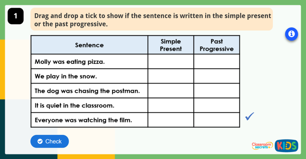 Year GPS Recognising Past Progressive Tense