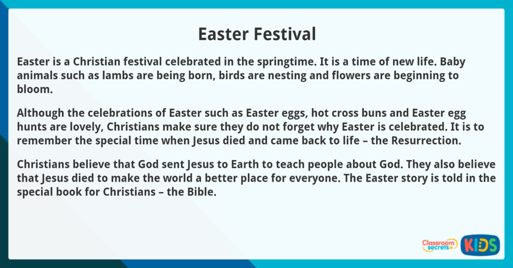 Year 3 Easter Reading Comprehension Easter Festival