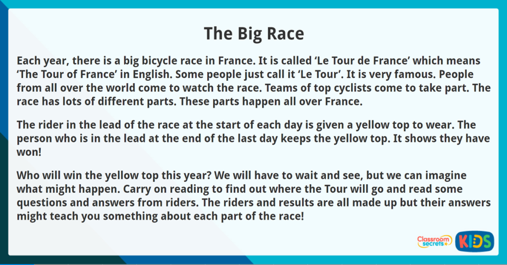 Year 3 Non Narrative Reading Comprehension The Big Race