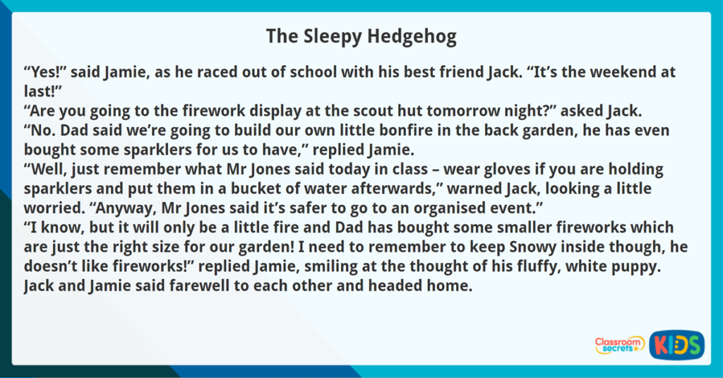 Year 3 Reading Comprehension Fiction The Sleepy Hedgehog