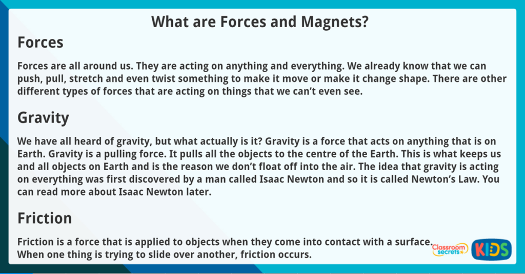 Year 3 Reading Comprehension What are Forces and Magnets