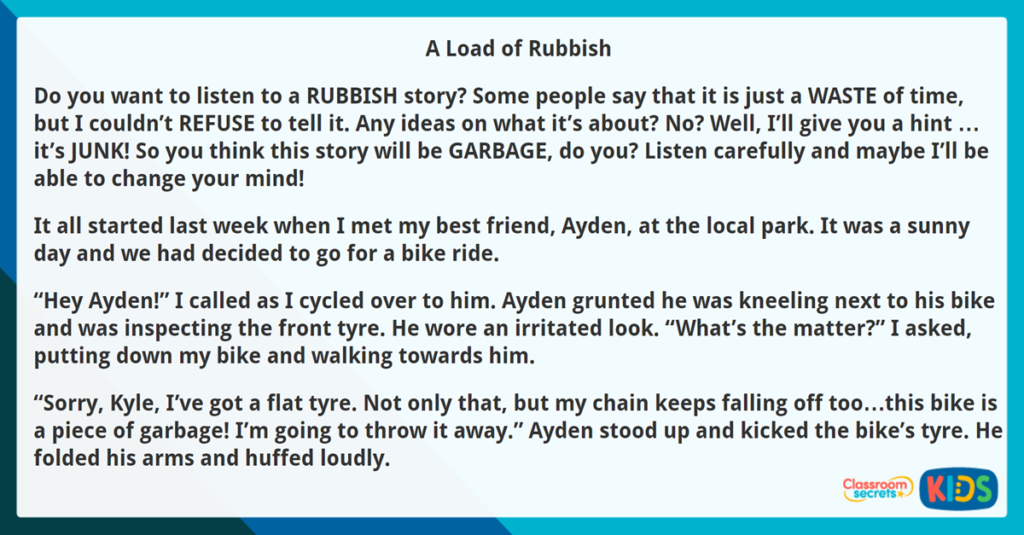 Year 4 Reading Comprehension Fiction A Load of Rubbish
