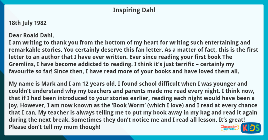 Year 4 Reading Comprehension Inspiring Dahl