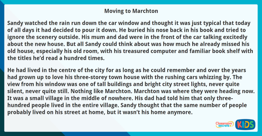 Year 3 Reading Comprehension Fiction Moving to Marchton