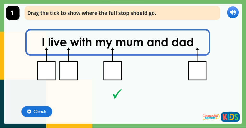 Year 1 Punctuation Game Full Stops
