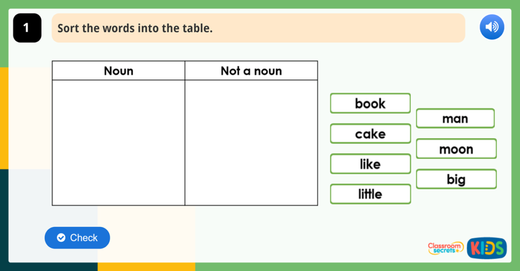 Year 1 Nouns Game Word Classes