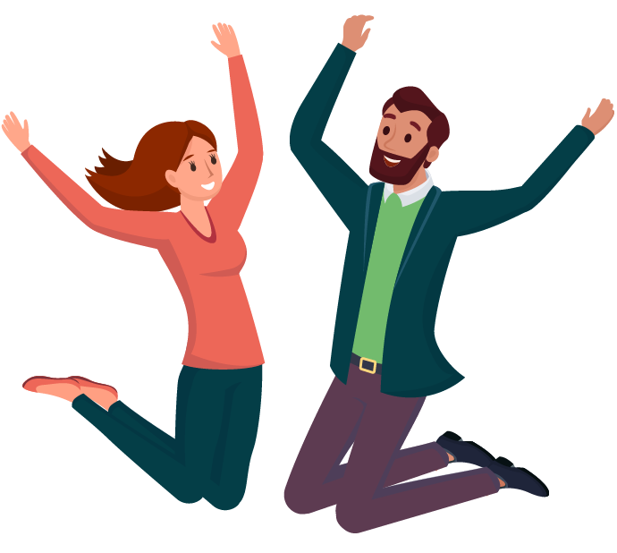 Illustration of two teachers jumping