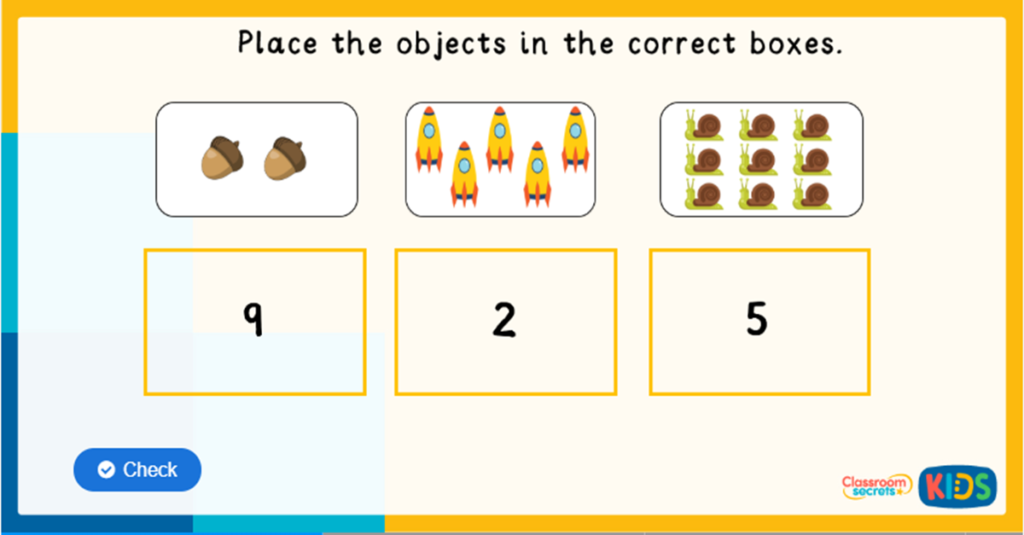 reception matching numbers to objects game