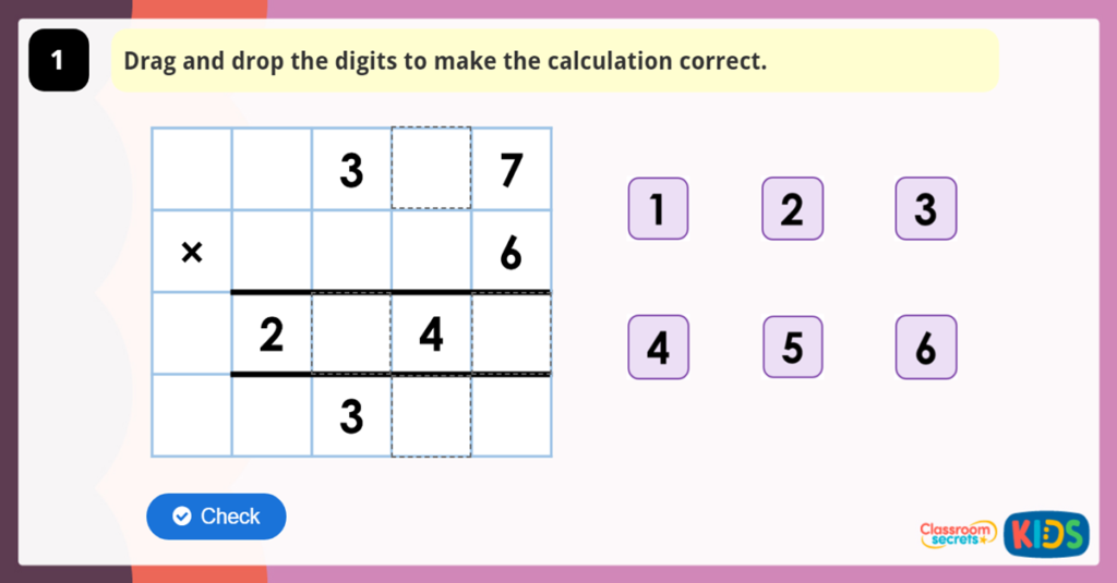 Multiply 3 Digits by 1 Digit