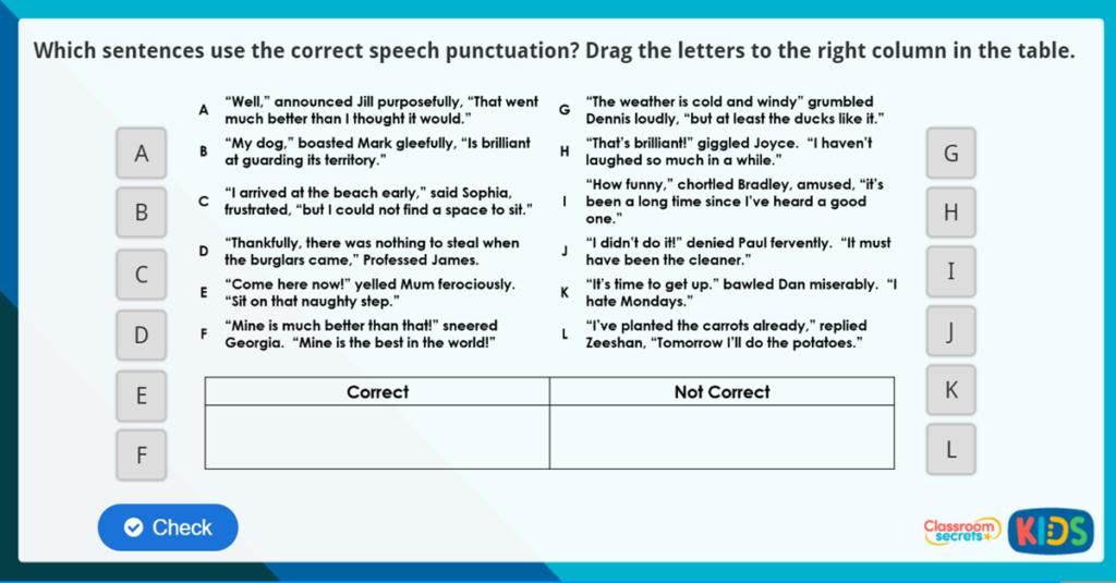 Year 4 Speech Punctuation Online Resources