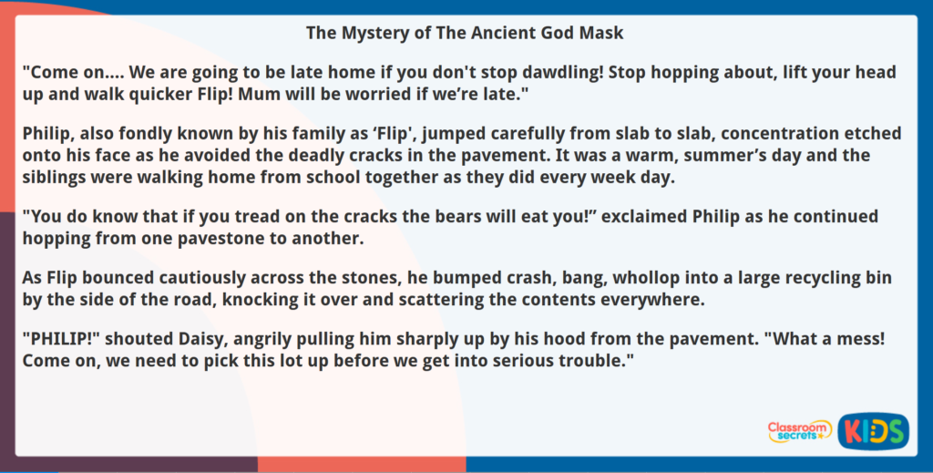 Year 5 Reading Comprehension Fiction The Mystery of the Ancient God Mask