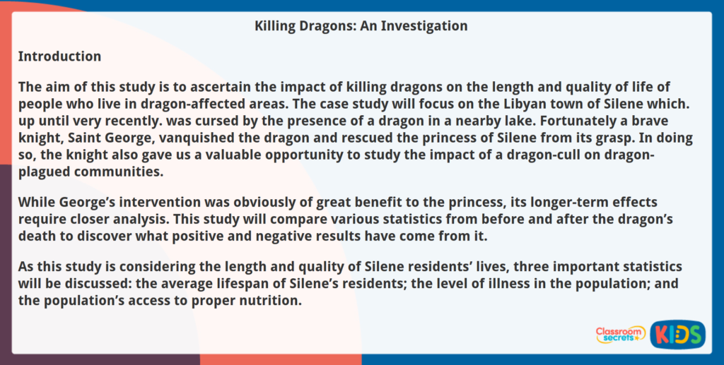 Year 6 Reading Comprehension Killing Dragons Investigation