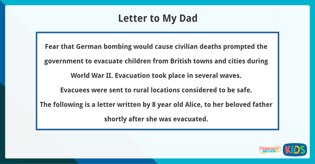 Year 3 Reading Comprehension Letter to My Dad