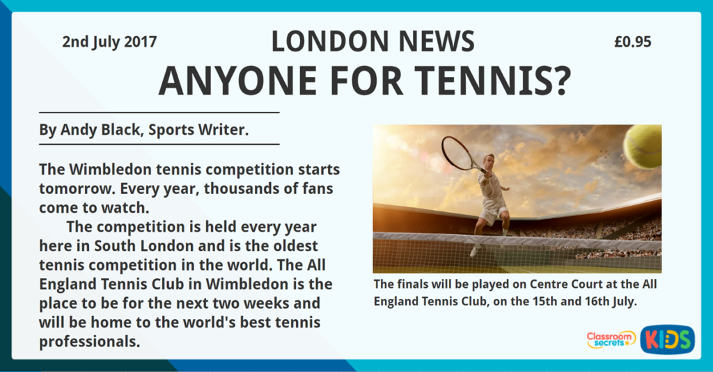 Year 3 Reading Comprehension Tennis Time