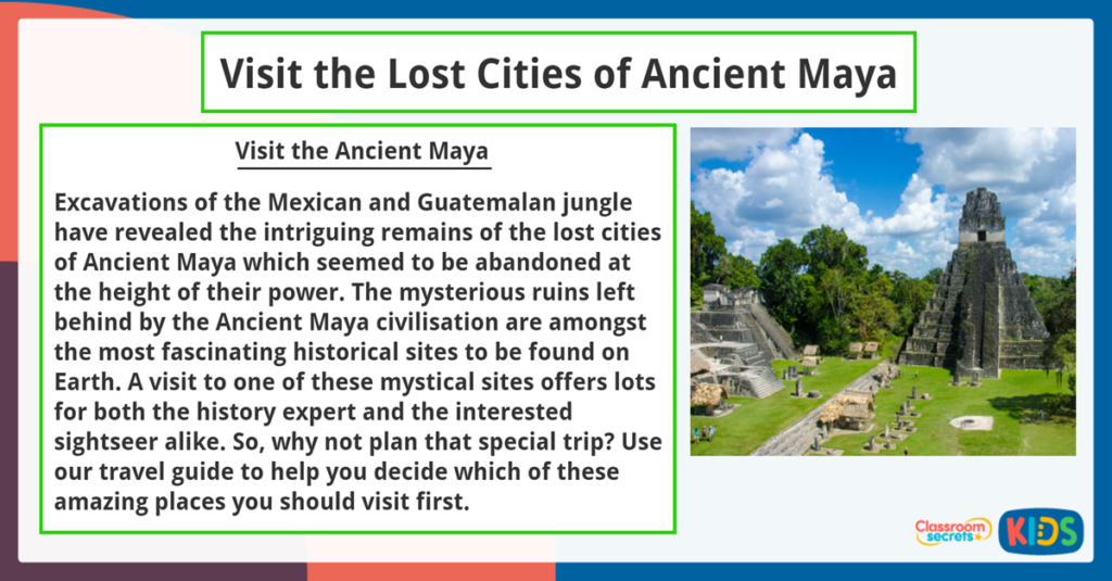 Year 6 Reading Comprehension Lost Cities of Ancient Maya