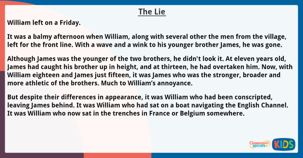 Year 6 Reading Comprehension The Lie