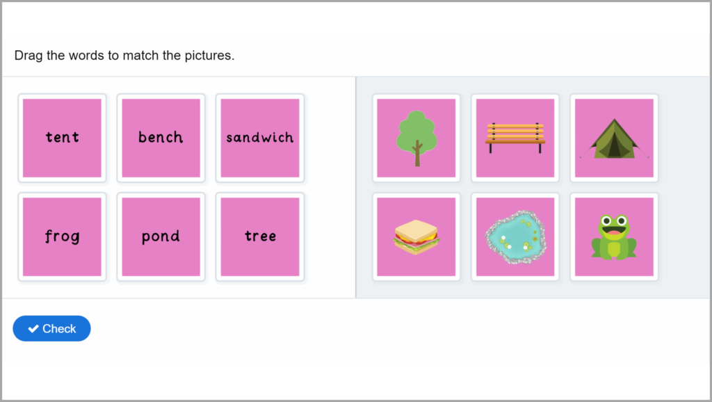 Phase 5 Phonics Match Words to Pictures Game 1