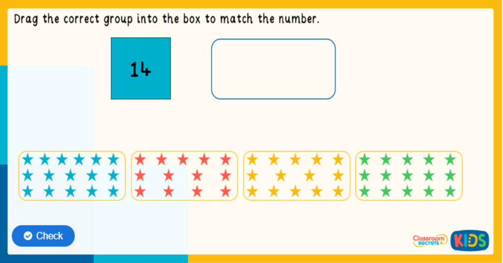 Reception Match the Objects to a Number Game