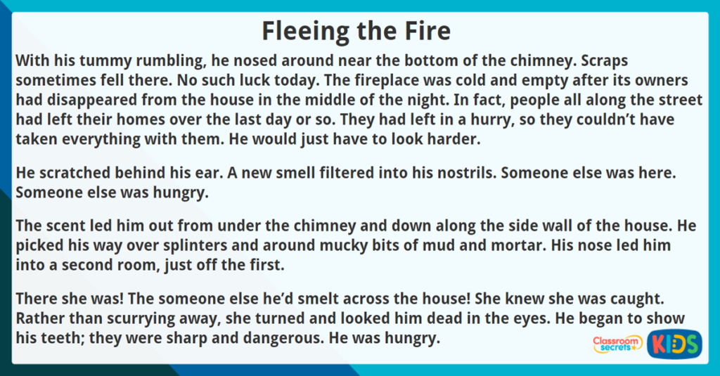 Year 4 Reading Comprehension Fleeing the Fire