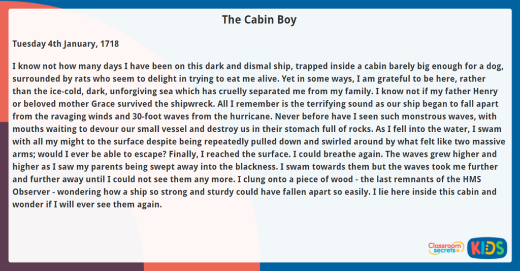 Year 5 Reading Comprehension The Cabin Boy