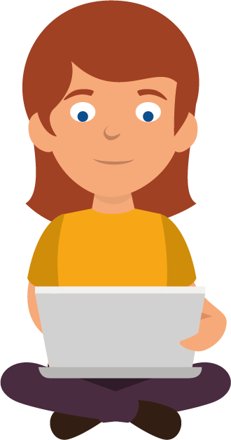 Illustration of a girl using a laptop