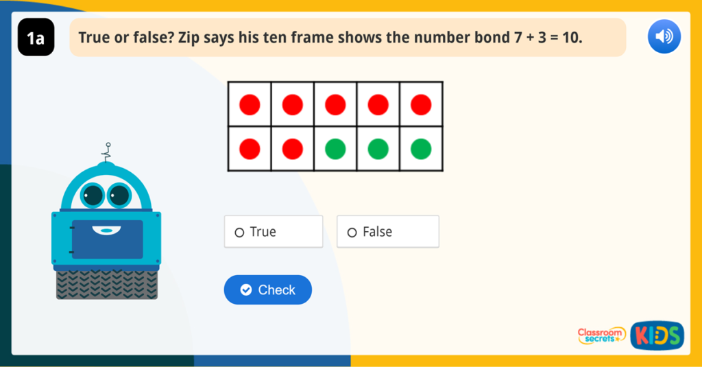 Year 1 Find and Make Number Bonds Reasoning Game