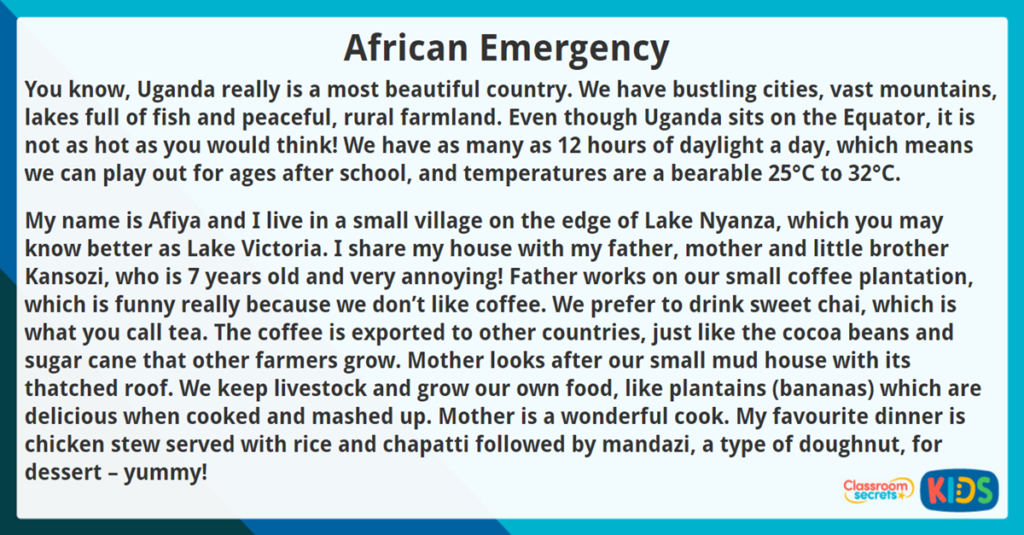 Year 4 Reading Comprehension African Emergency