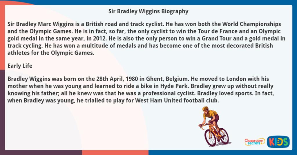 Year 5 Biography Reading Comprehension Bradley Wiggins