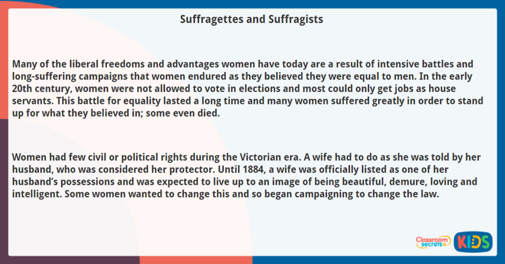 Year 5 Reading Comprehension Suffragettes and Suffragists