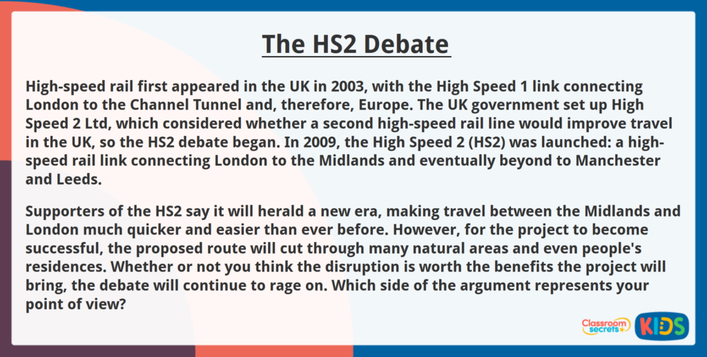 Year 6 Reading Comprehension The HS2 Debate