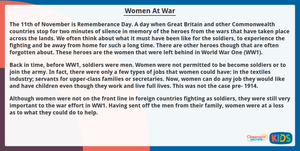 Year 6 Reading Comprehension Women at War