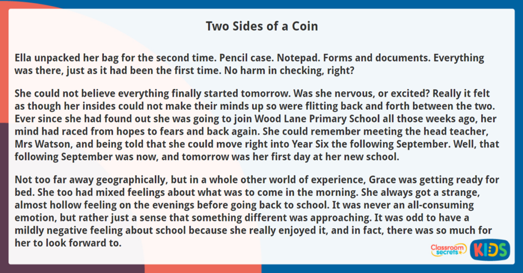 Year 6 Reading Comprehension Two Sides of a Coin