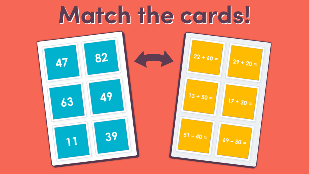 Add and Subtract 10s Matching Game
