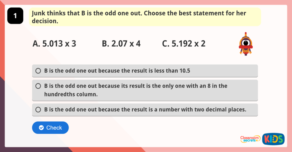 Year 6 Multiply Decimals by Integers Reasoning Practice