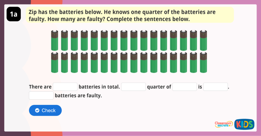 Year 3 Fractions of an Amount Reasoning Practice