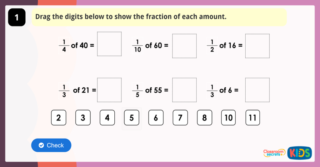 Year 3 Fractions Consolidation Game